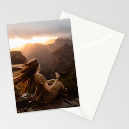 Long Hair in Mountain Wind Stationery Cards