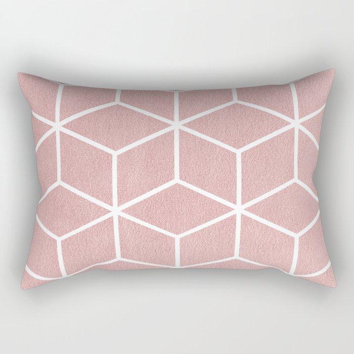 Blush Pink and White - Geometric Textured Cube Design Rectangular Pillow