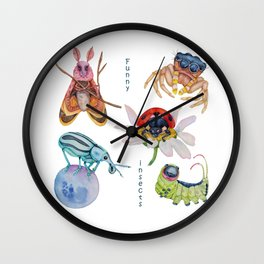 Watercolor set of Funny insects. Wall Clock