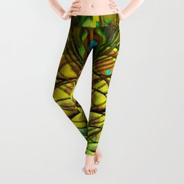 GREEN-YELLOW PEACOCK FEATHERS ART DESIGN Leggings