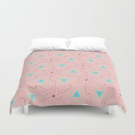 80's pretty in pink w/ turquoise triangles & green leaves Duvet Cover