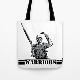 Soldier with rifle and grenade  Tote Bag