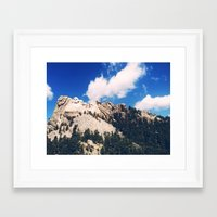 rushmore Framed Art Prints featuring rushmore by brandon lecy