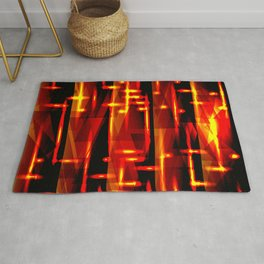 Luxurious red stripes and metallic orange triangles of fire create abstraction and glow. Rug