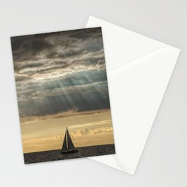 Sailboat Sailing in Lake Michigan beneath Sunbeams Stationery Cards