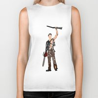 evil dead Biker Tanks featuring The Evil Dead - Bruce Campbell by Ayse Deniz