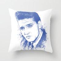 elvis presley Throw Pillows featuring Elvis Presley by Chadlonius
