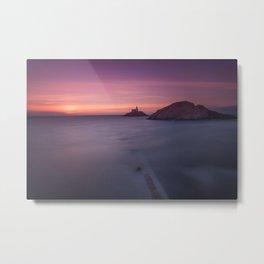 Daybreak at Mumbles lighthouse Metal Print
