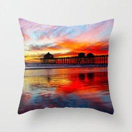 Huntington Beach Sunset    11/8/13 Throw Pillow