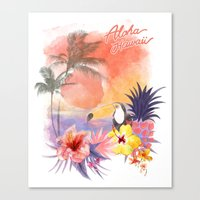 aloha Canvas Prints featuring aloha by ulas okuyucu