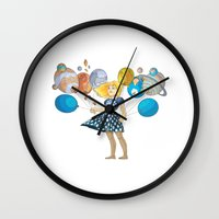solar system Wall Clocks featuring Solar System by Owlsoul