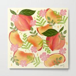 Peaches & Flowers Metal Print