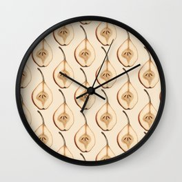 Shout Out to All the Pear on Pale Peach Wall Clock
