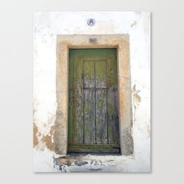 Old Green Door in Tavira, Portugal Canvas Print