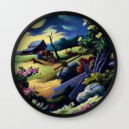 Classical Masterpiece 'June Morning, 1945' by Thomas Hart Benton Wall Clock