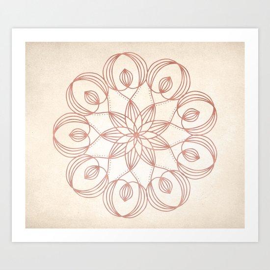 Mandala Floweret Rose Gold on Cream Art Print