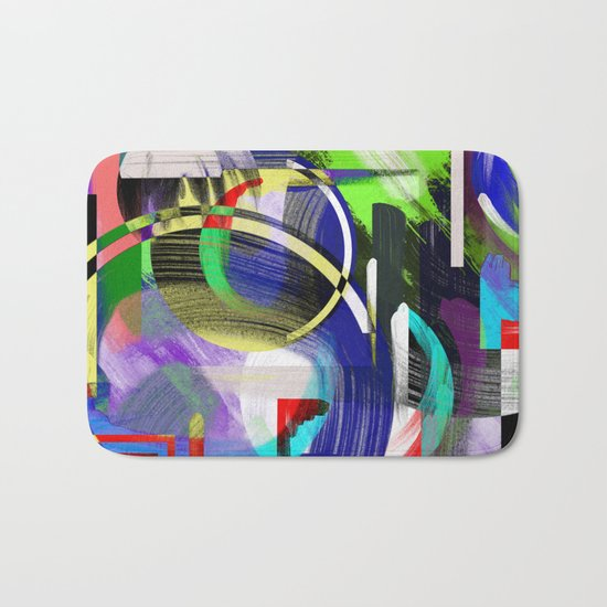 Try To Make Sense Of It All - Random, geometric, eclectic, abstract, colourful art Bath Mat