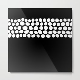 Soft White Pearls on Black Metal Print