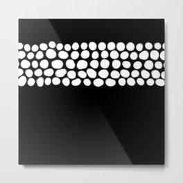 Soft White Pearls on Black Metal Print