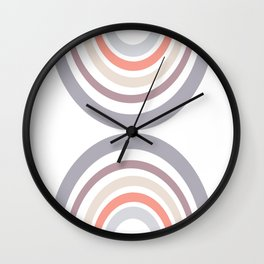 Modern Double Rainbow Hourglass in Muted Earth Tones Wall Clock