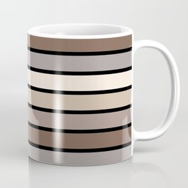 Multicolored Stripes: Shades of Brown Coffee Mug