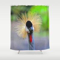 crane Shower Curtains featuring curious crane by Lisa Carpenter