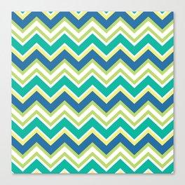 Pastel green yellow blue modern zigzag chevron pattern Canvas Print