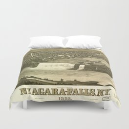 NIAGARA FALLS New-York city old map Father Day art print poster Duvet Cover
