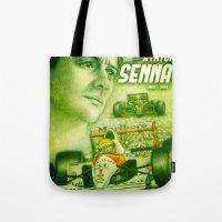 senna Tote Bags featuring Ayrton Senna Tribute by TheToonPlanet