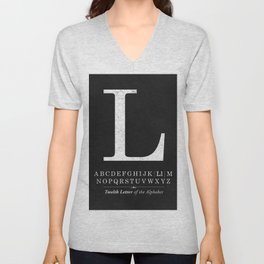 Monogram Letter L Initial with Black & White Alphabet Unisex V-Neck