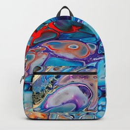 Marbled Stone Look Abstract Art Blue Purple Red Backpack