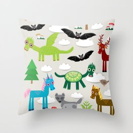 magic pattern with funny dragon bats unicorn horse deer bird wolf. illustration Throw Pillow