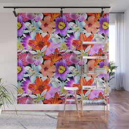 Tropical Floral Study in Black Wall Mural