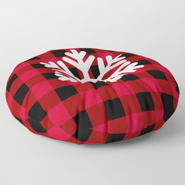 Red Buffalo Check - snowflake - more colors Floor Pillow
