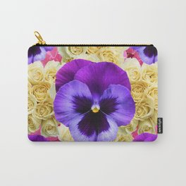 PURPLE PANSY FLOWERS & IVORY ROSES  PINK ART Carry-All Pouch