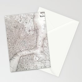 Vintage New York City Map Stationery Cards