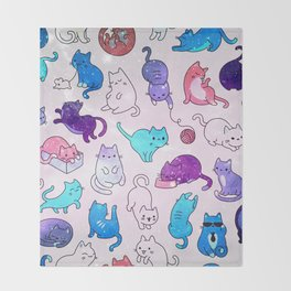 Space Cats Pattern Throw Blanket
