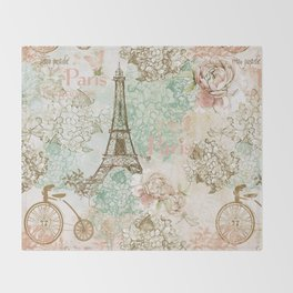 I love Paris - Vintage Shabby Chic - Eiffeltower France Flowers Floral  Throw Blanket