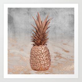 Pineapple in Glitter Marble Rose Gold And Concrete Art Print