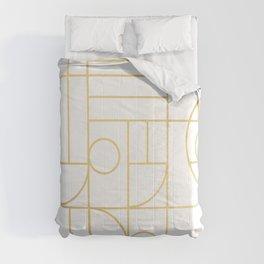 Minimalist Mid Century Modern Gold Pattern Comforters