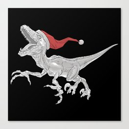Black and White Christmas Velociraptor Canvas Print