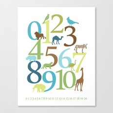Animal Numbers -  Grass Stains colorway Canvas Print