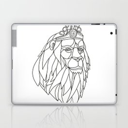 Lion Princess Wearing Tiara Mosaic Black and White Laptop & iPad Skin
