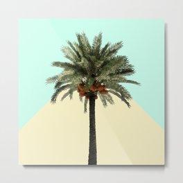 Palm Tree on Cyan and Lemon Wall Metal Print