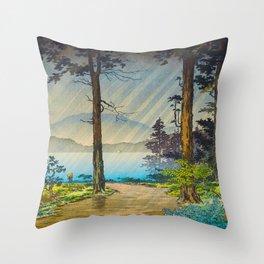 Tsuchiya Kôitsu Japanese Woodblock Vintage Print Light Shining Through Forest Trees Lake Throw Pillow