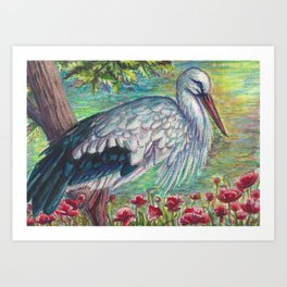 White Stork with Poppies Art Print