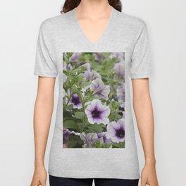 bellflower in bloom in the garden Unisex V-Neck
