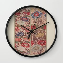 Verneuil - Japanese paper and fabric designs (1913) - 16: Chrysanthemums & Peonies Wall Clock