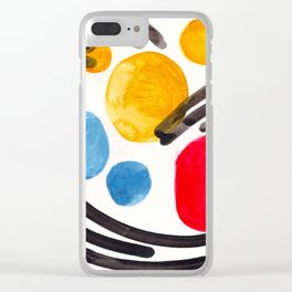 Mid Century Modern Abstract Juvenile childrens Fun Art Primary Colors Watercolor Minimalist Pop Art Clear iPhone Case