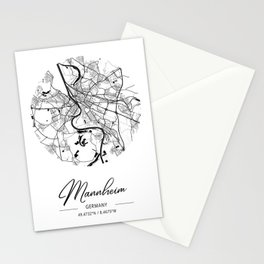Mannheim Area City Map, Mannheim Circle City Maps Print, Mannheim Black Water City Maps Stationery Cards